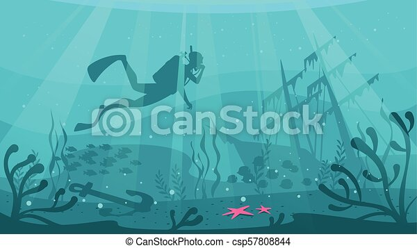 vector cartoon style underwater background with sea flora and fauna