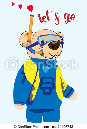 Scuba diver teddy bear drawing. A cute bear is about to dive into the water. Isolated object - csp74406743
