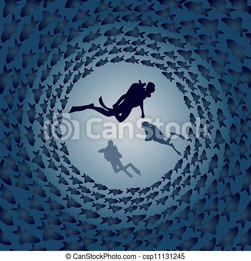Scuba divers and fish - csp11131245