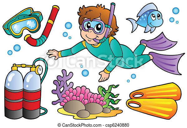 scuba diving collection vector illustration vector clipart rh canstockphoto com kid scuba diver clipart kid scuba diver clipart