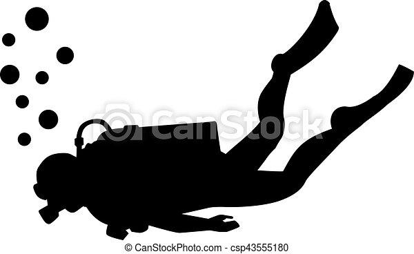 Scuba diving silhouette - csp43555180