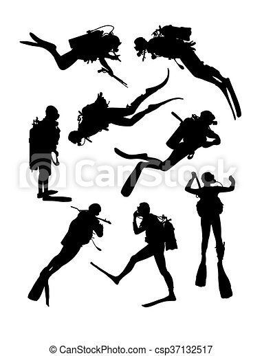 Scuba Diving Silhouettes - csp37132517