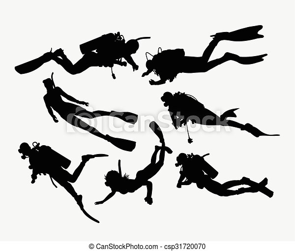 Scuba diving snorkeling silhouette - csp31720070