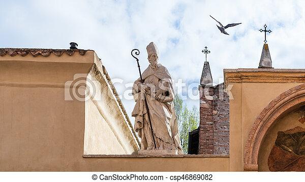 sculpture of Saint on walls of Church of San Zeno - csp46869082