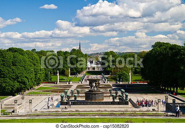 Sculptures in Vigeland park Oslo Norway - csp15082820