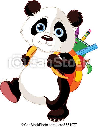scuola, andare, carino, panda - csp6851077