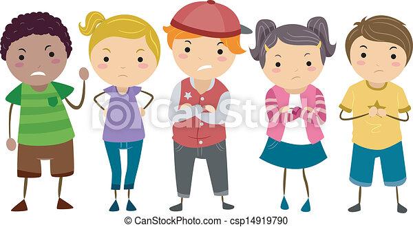 scuola, bullies, stickman, bambini - csp14919790