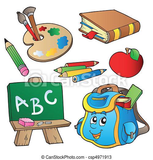 scuola, cartoni animati, collezione - csp4971913