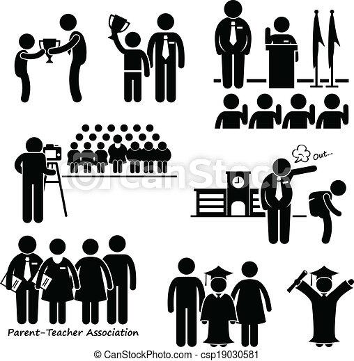 scuola, eventi, studente, icona - csp19030581