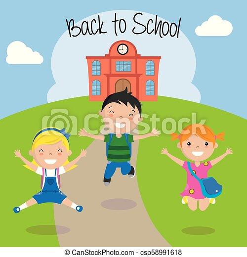 scuola, ritorno, bambini, felice - csp58991618