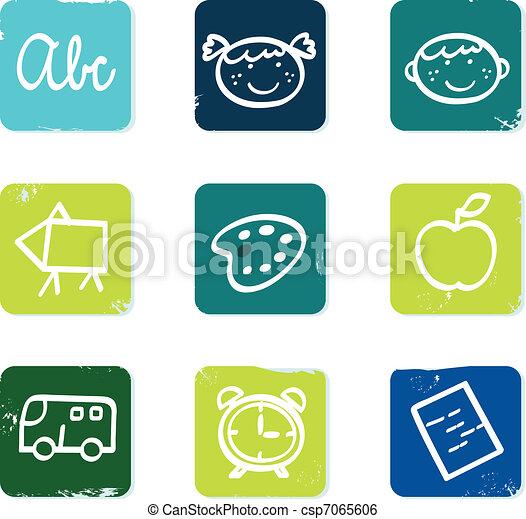 scuola, set, &, scarabocchiare, icone, indietro, isolato, elementi, bianco - csp7065606