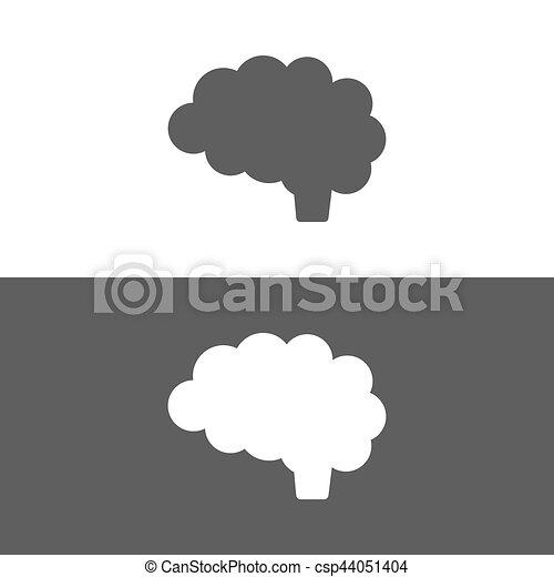Scuro Cervello Sfondo Bianco Icona Illustrazione Scuro