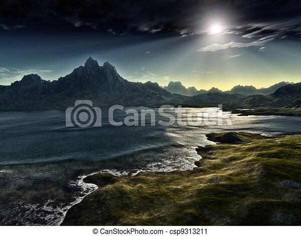 scuro, fantasia, paesaggio - csp9313211