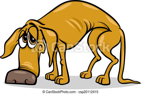 sdf, triste, dessin animé, illustration, chien - csp20112415