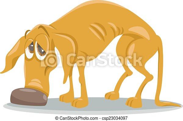 sdf, triste, dessin animé, illustration, chien - csp23034097