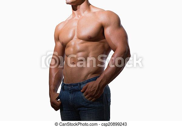 seção, homem, meio, muscular, shirtless - csp20899243