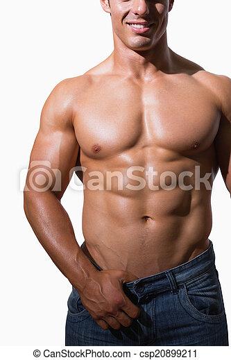 seção, homem, meio, muscular, shirtless - csp20899211