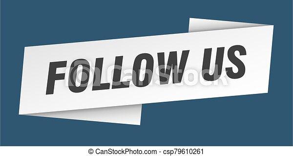 señal, bandera de la cinta, etiqueta, nosotros, seguir, template. - csp79610261