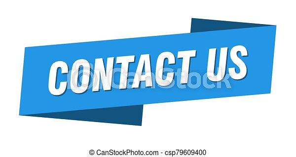 señal, bandera de la cinta, etiqueta, contáctenos, template. - csp79609400