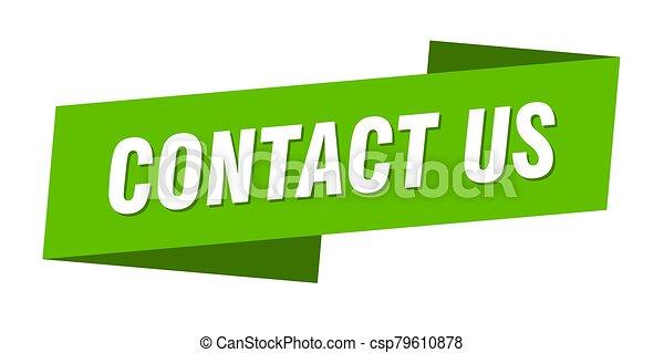 señal, bandera de la cinta, etiqueta, contáctenos, template. - csp79610878