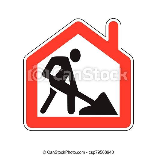 señal, blanco, símbolo, isoalte, hogar, obras de carretera, remoto - csp79568940