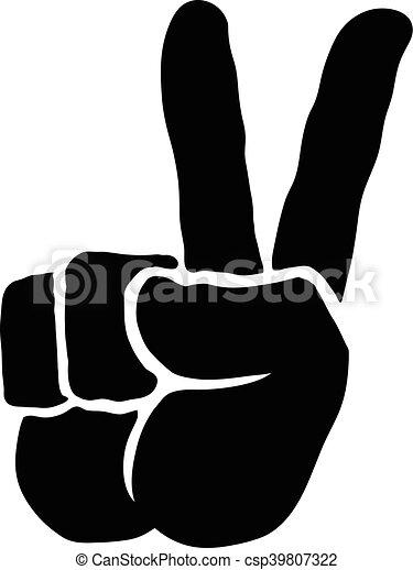 Mano de signo de paz - csp39807322