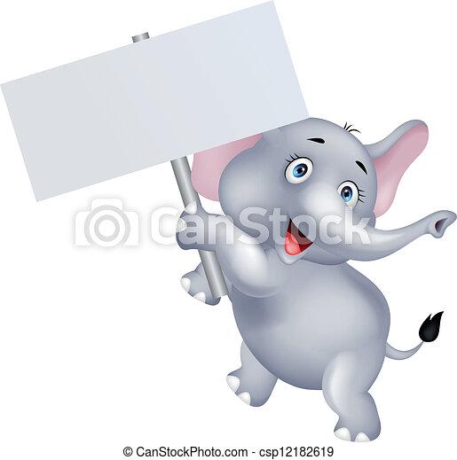 Elefante con una señal en blanco - csp12182619