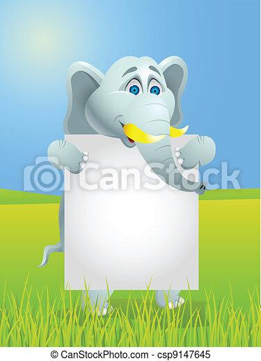 Elefante con una señal en blanco - csp9147645