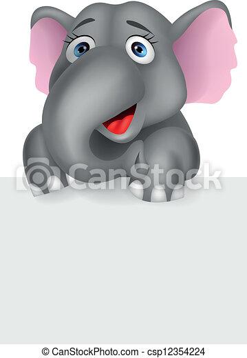 Elefante con una señal en blanco - csp12354224