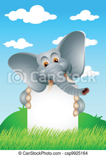 Dibujos de elefante con señales en blanco - csp9925164