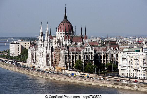 señal, famoso, parlamento, -, húngaro - csp0703530