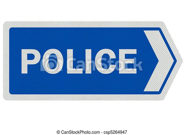 """Fotos realistas, signo de """"policía"""", aislado en blanco - csp5264947"""