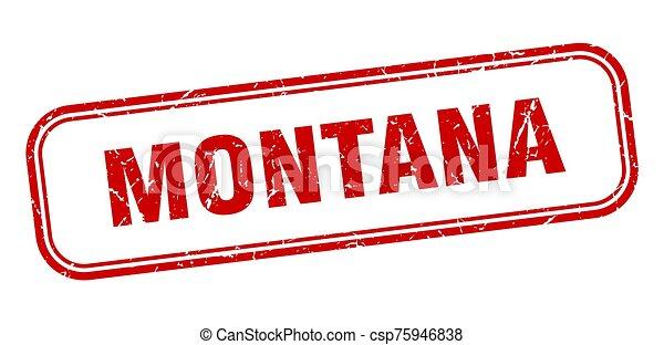 señal, grunge, stamp., rojo, aislado, montana - csp75946838