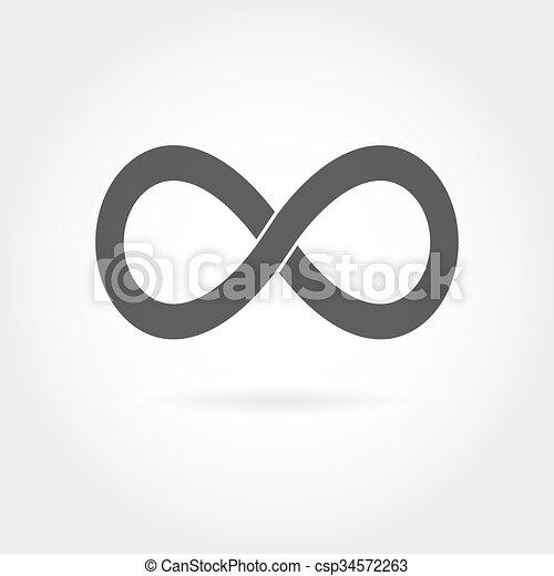 Ícono infinito. Simple signo matemático aislado en blanco - csp34572263