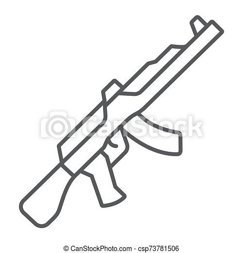 señal, lineal, máquina, patrón, ak47, delgado, fondo., arma de fuego, vector, blanco, icono, línea, rifle, gráficos, militar - csp73781506