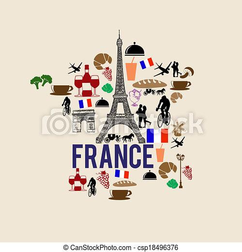El mapa de Francia silueta icono - csp18496376