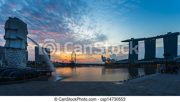 señal, merlion, salida del sol, singapur - csp14730553