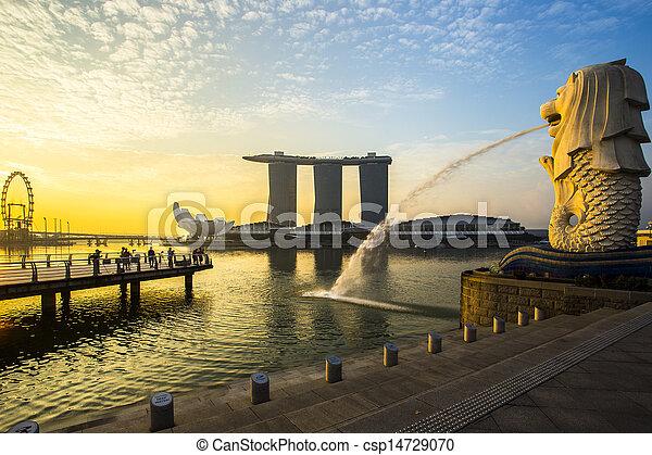 señal, merlion, salida del sol, singapur - csp14729070