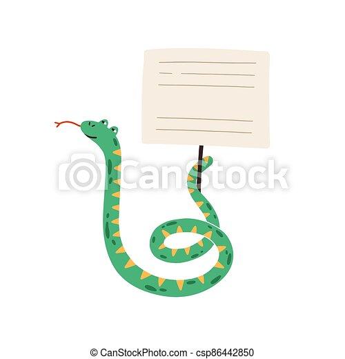 señal, plano, vector, tenencia, bandera, tarjeta de lugar, stick., text., salvaje, se manifestar, estilo, infantil, ilustración, blanco, divertido, serpiente, o, vacío, caricatura, animal, adorable - csp86442850