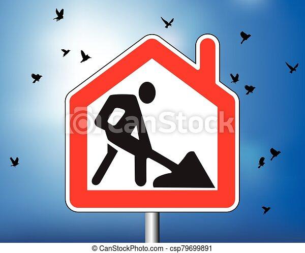 señal, remoto, símbolo, casa trabajo, cielo, camino - csp79699891