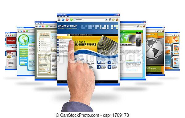 señalar el dedo, sitios web, internet - csp11709173