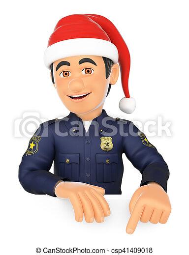 Un policía de 3D apuntando con un sombrero de Santa Claus. Espacio en blanco - csp41409018