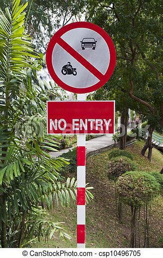 Señales de alerta que prohíben el acceso al vehículo. - csp10496705