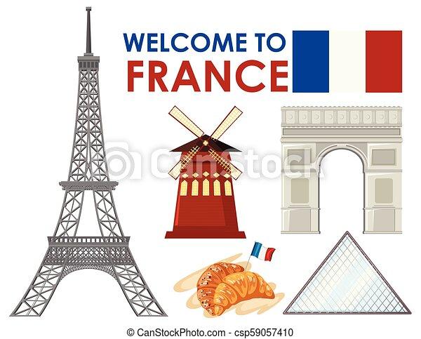 Bienvenidos a Francia con puntos de referencia - csp59057410