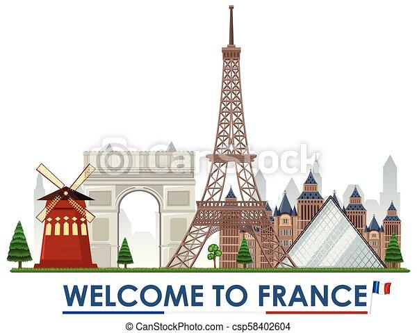 Bienvenidos a Francia - csp58402604