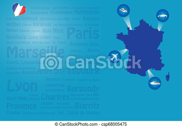 Los monumentos de Travel France nombran vector de plantilla - csp68005475