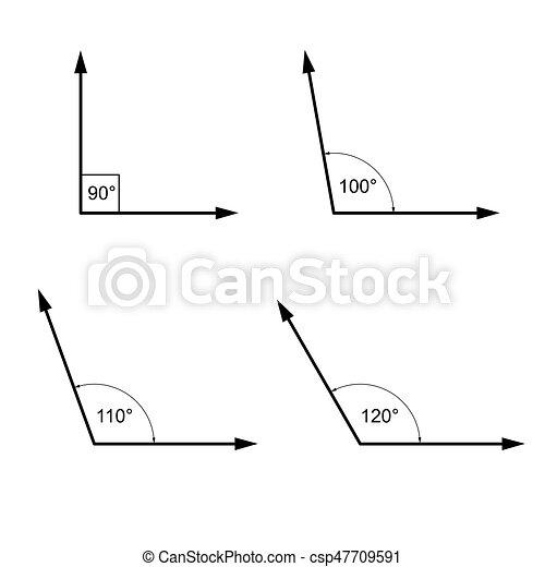 Angles In Degrees Signos De Matematicas Geometria Imagenes De Angles En Degrees Aisladas En Blanco Canstock