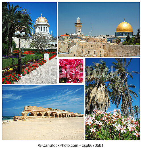 Collage de las marcas de tierras de Israel -Jerusalem, templo Bahai - csp6670581