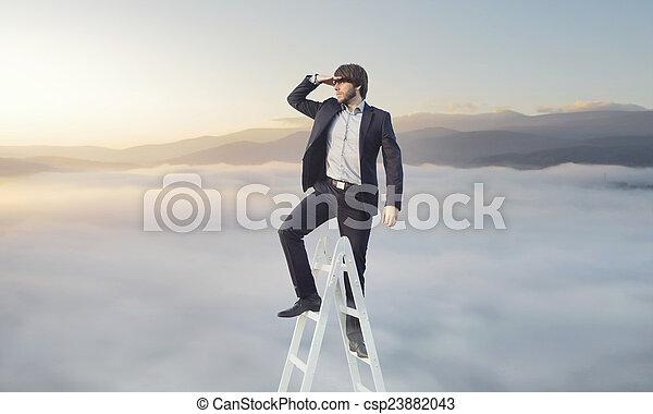 se, affärsman, hans, måltavla, ambitiös - csp23882043