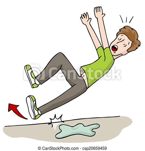 Hombre resbalando en el suelo mojado - csp20659459